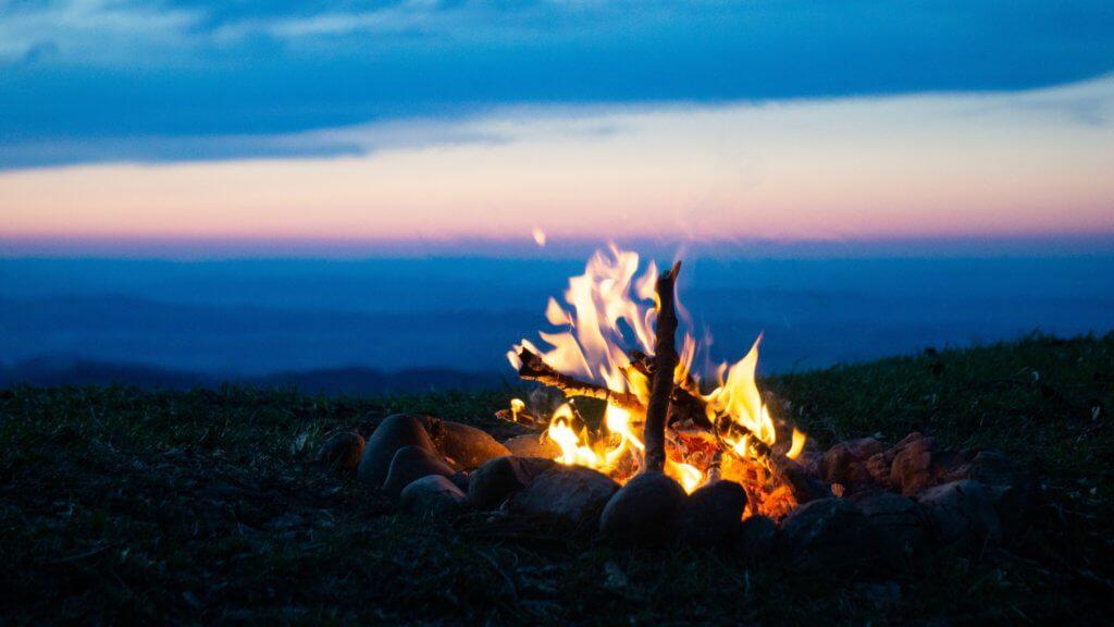 bonfire on focus photography