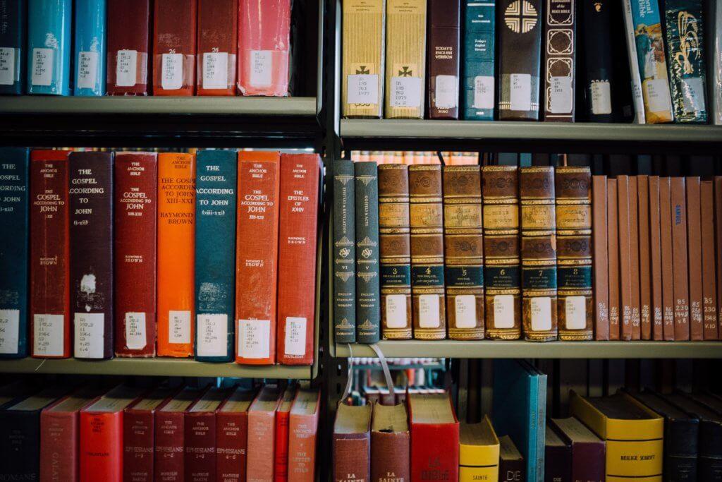 assorted-title books on shelf